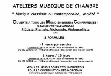NOUVEAUTÉ RENTRÉE 2019 – 2020-ATELIERS MUSIQUE DE CHAMBRE