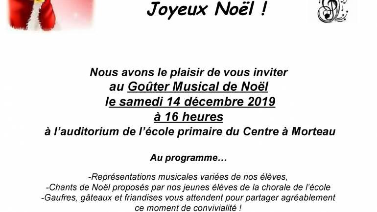 Goûter Musical de Noël le samedi 14 décembre 2019